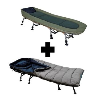 "Carpline24 ""Xtreme"" 8-Bein Bedchair + Sleeping Bag Combo"
